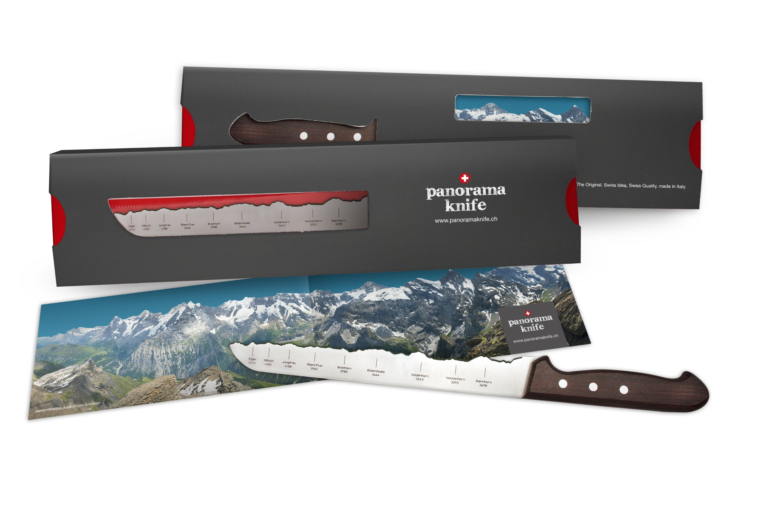 PanoramaKnife bread knife with the Swiss Alps - Eiger, Mönch, Jungfrau with Wooden Handle by PanoramaKnife