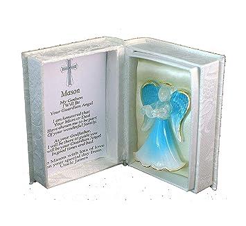 Godson Baby Boy Persönlicher Taufe Geschenk Blau Kristall