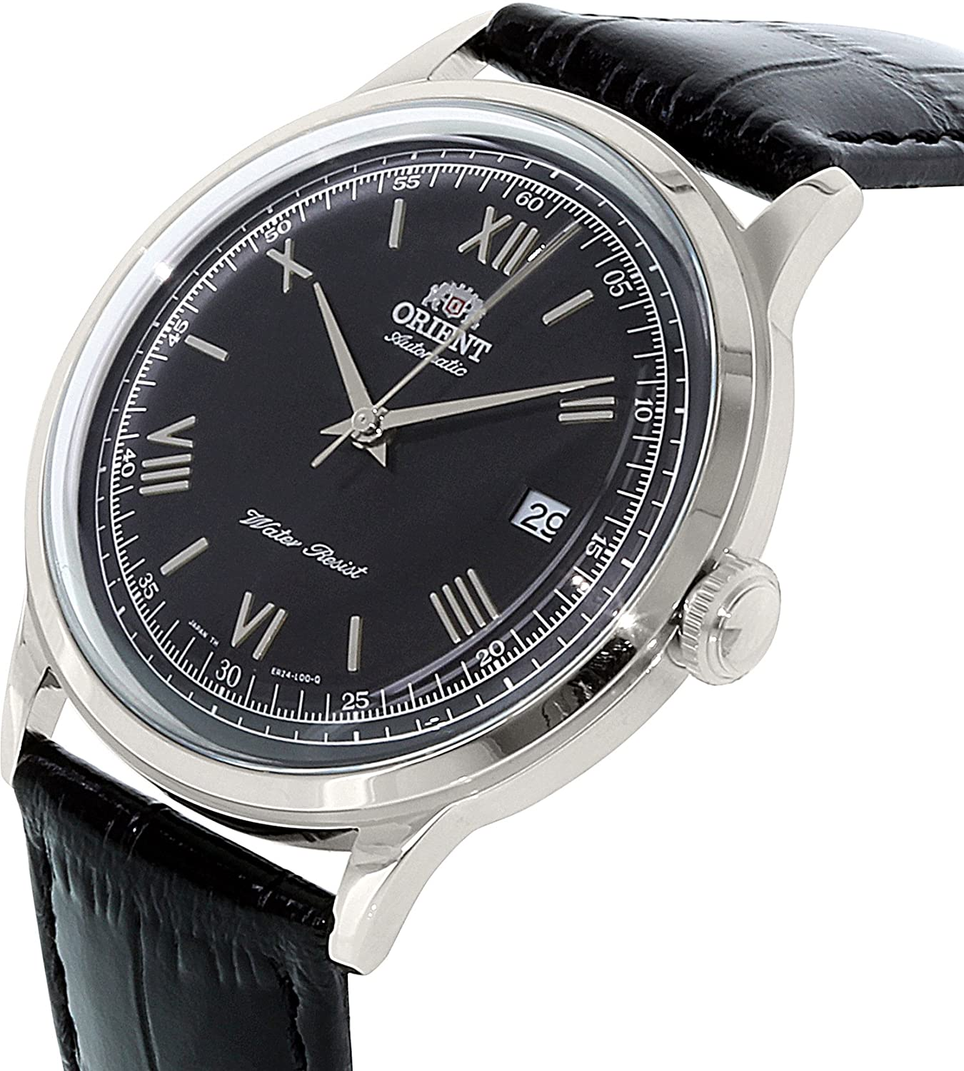 Orient Bambino Automatic Dress Watch with Black Dial, Roman Numeral Markers ER2400DB
