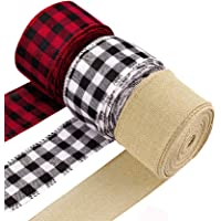CHICHIC Christmas Ribbon Buffalo Plaid Ribbon Burlap Ribbon Christmas Tree Ribbon Wired for Fall Holiday Garland Gift…