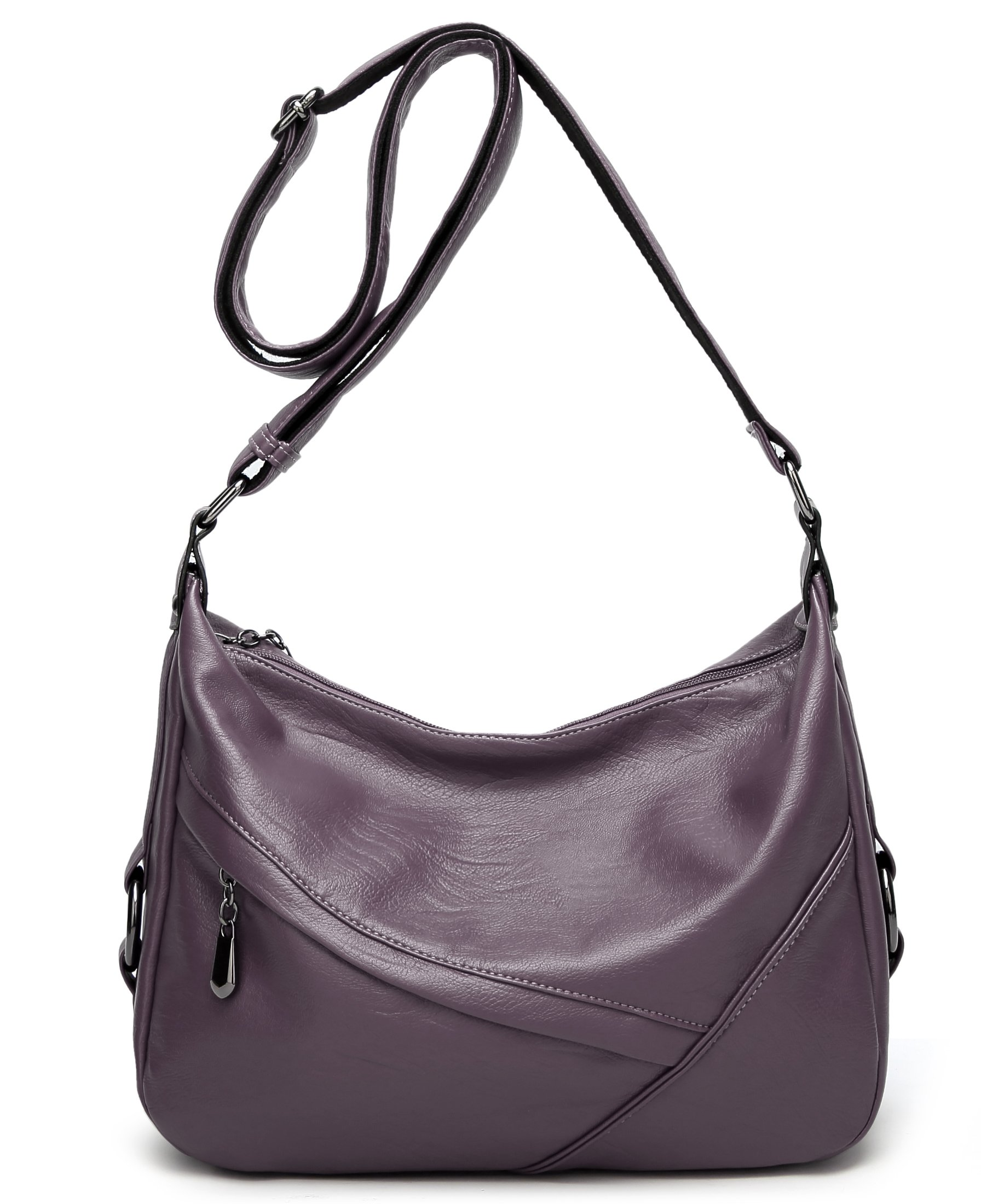 Molodo Women PU Leather Big Shoulder Bag Purse Handbag Tote Bags (Purple)