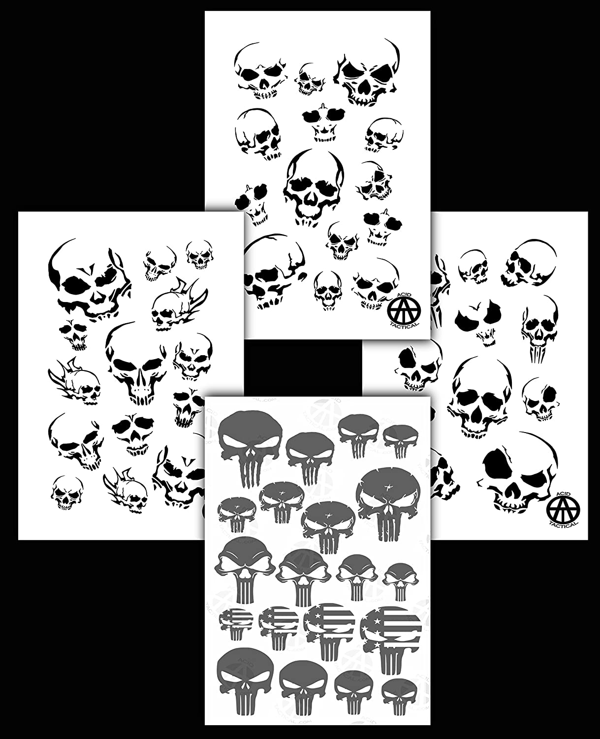 Acid Tactical® 4PK Camouflage Spray Paint Camo Gun Stencils Adhesive & Mylar Punisher & Skulls