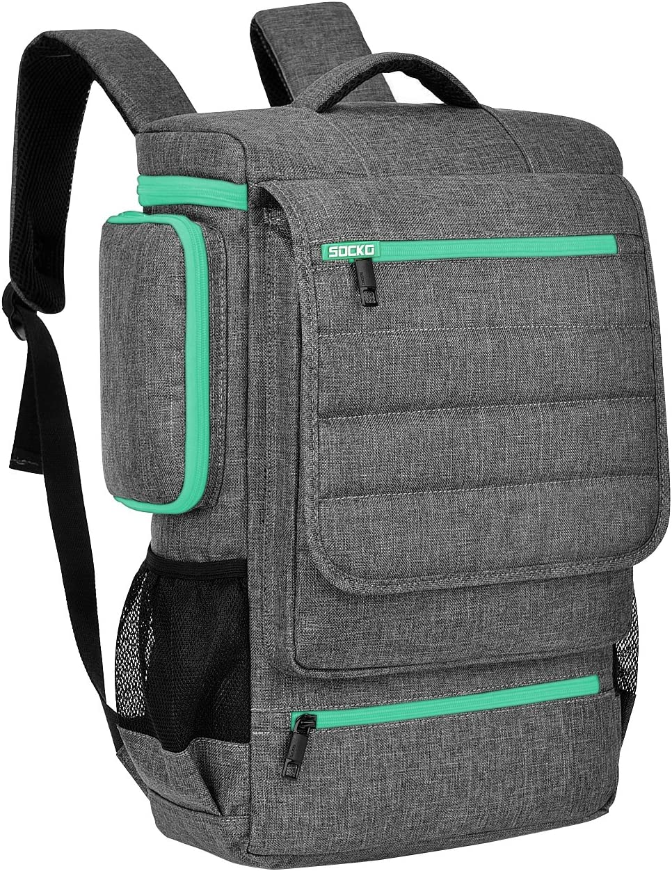 Laptop Backpack 17.3 Inch,BRINCH Water Resistant Travel Backpack for Men Women Luggage Rucksack Hiking Knapsack College Shoulder Backpack Fits 17-17.3 Inch Laptop Notebook Computer, Grey-Green