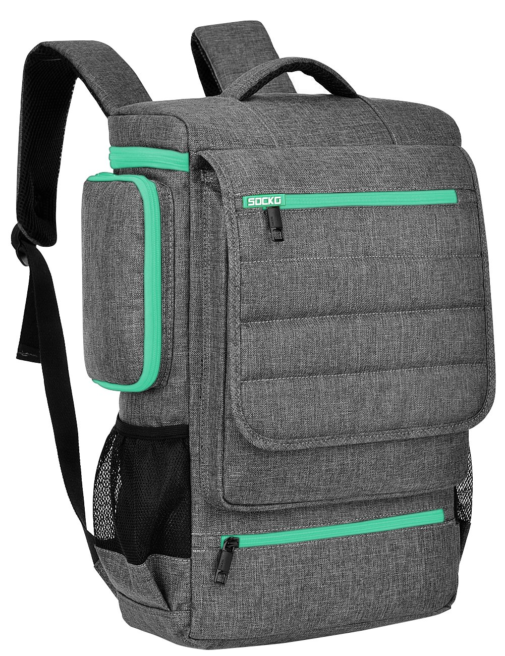 Laptop Backpack 18.4 Inch BRINCH Water Resistant Large Travel Backpack for Men Luggage Knapsack Computer Rucksack Hiking Bag College Backpack Fits 18-18.4 Inch Laptop Notebook Computer,Grey-Green by BRINCH