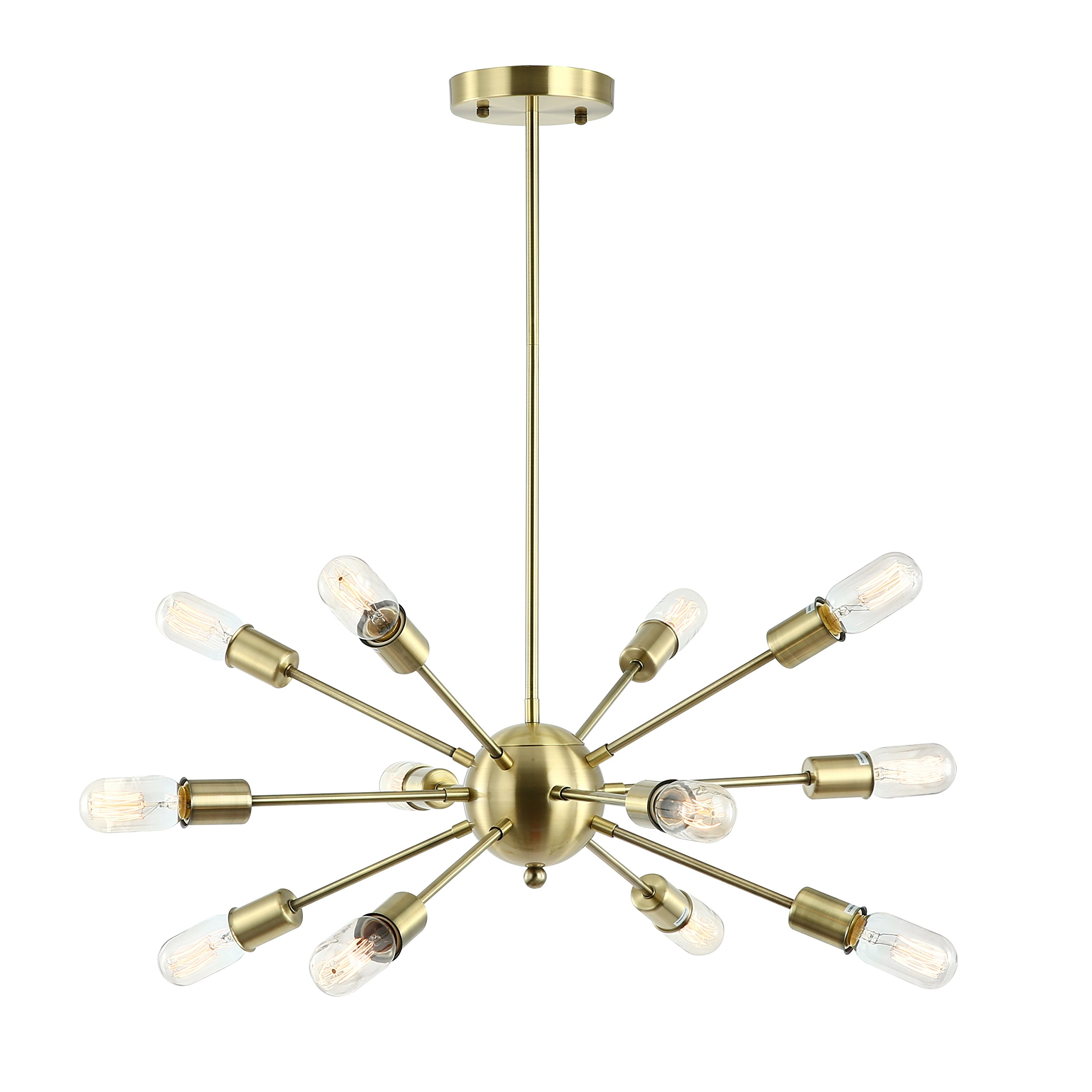 Light Society Meridia Sputnik 12-Light Chandelier Pendant, Brushed Brass, Mid Century Modern Industrial Starburst-Style Lighting Fixture (LS-C172-BRS) by Light Society (Image #1)
