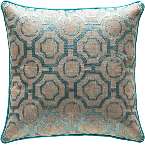 TINA S HOME Distressed Geometric Decorative Throw Pillows with Down Alternative Insert Embroidery Linen Couch Sofa Bed Home Kitchen Accent Pillows 20 x 20 inches, Teal