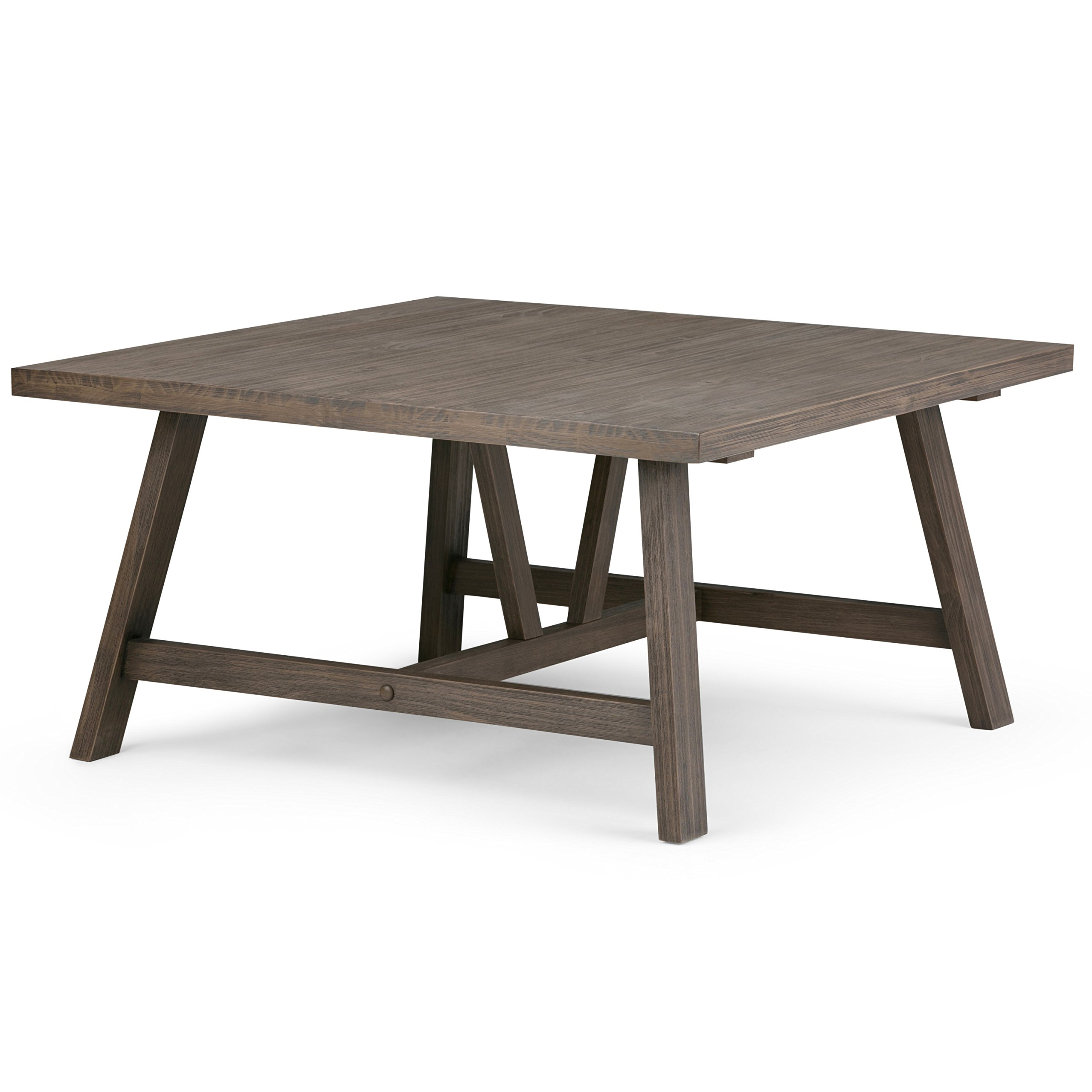 Simpli Home 3AXCDLN-02 Dylan Solid Wood 36 inch Wide Square Modern Industrial Coffee Table in Driftwood by Simpli Home