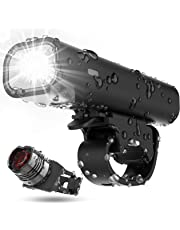 USB Rechargeable Bike Light Set, Runtime 8+ Hours 400 Lumen Super Bright Headlight Front Lights and Back Rear LED,4 Light Mode Fits All Bicycles, Mountain,Road