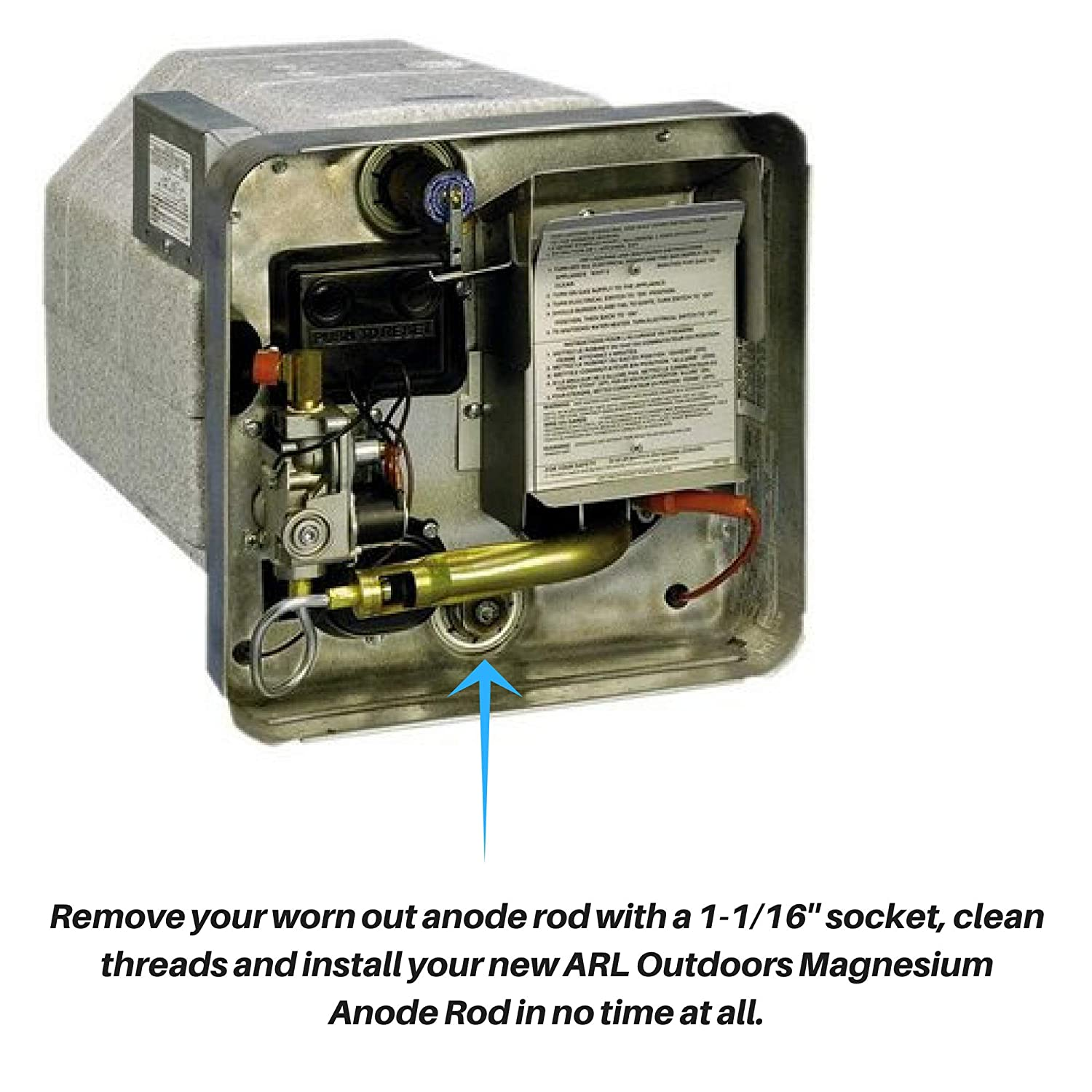 What is the purpose of the magnesium anode in the water heater