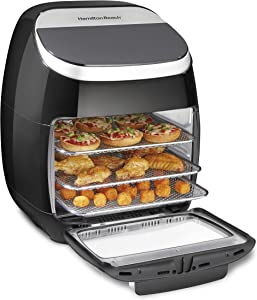 Hamilton Beach 11.6 QT Digital Air Fryer Oven with Rotisserie and Rotating Basket, 8 Pre-Set Functions including Dehydrator, Roaster & Toaster, 1700W, Black (35070)