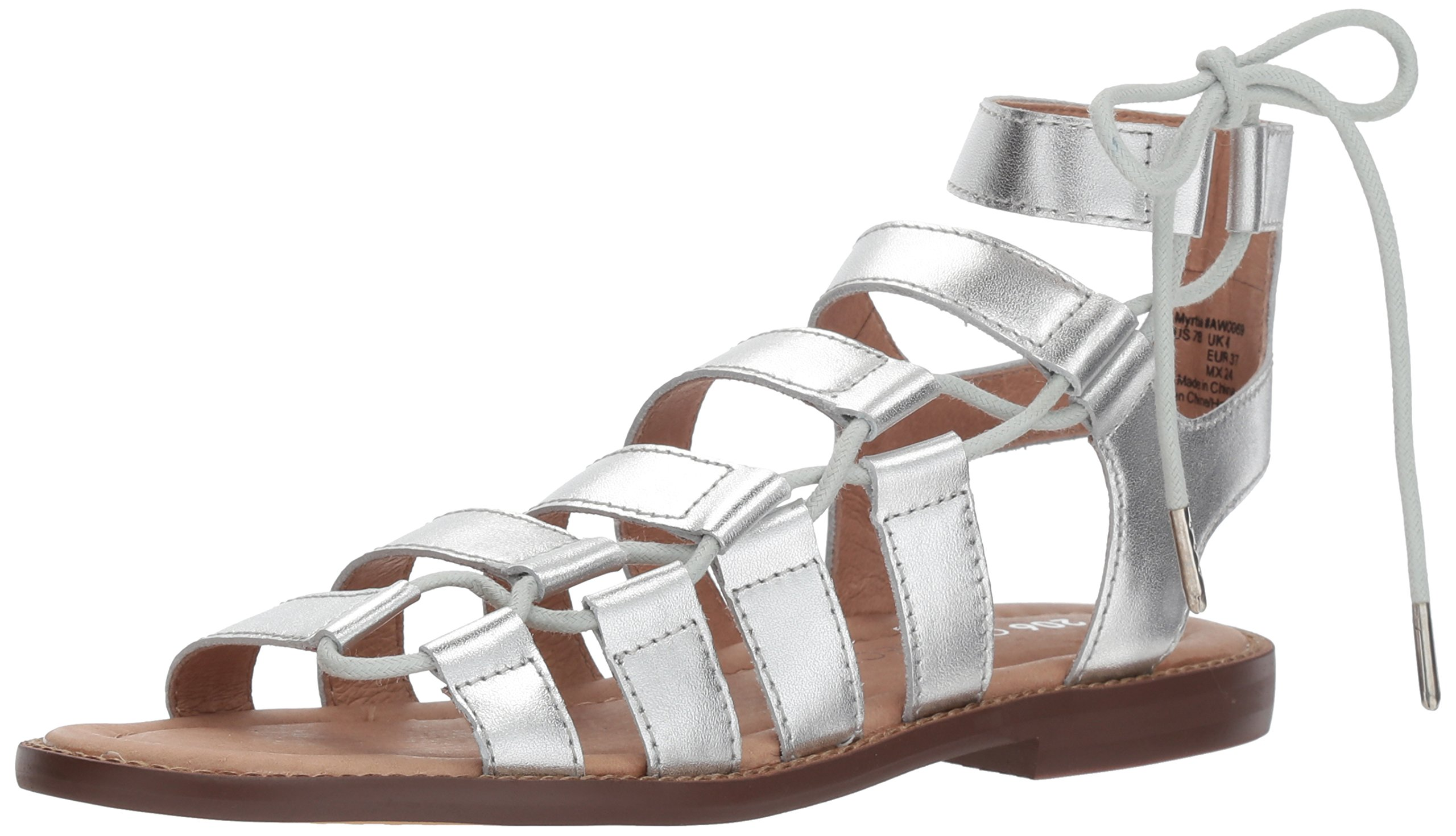 206 Collective Women's Myrtle Gladiator Fashion Flat Sandal, Silver Leather, 7.5 B US