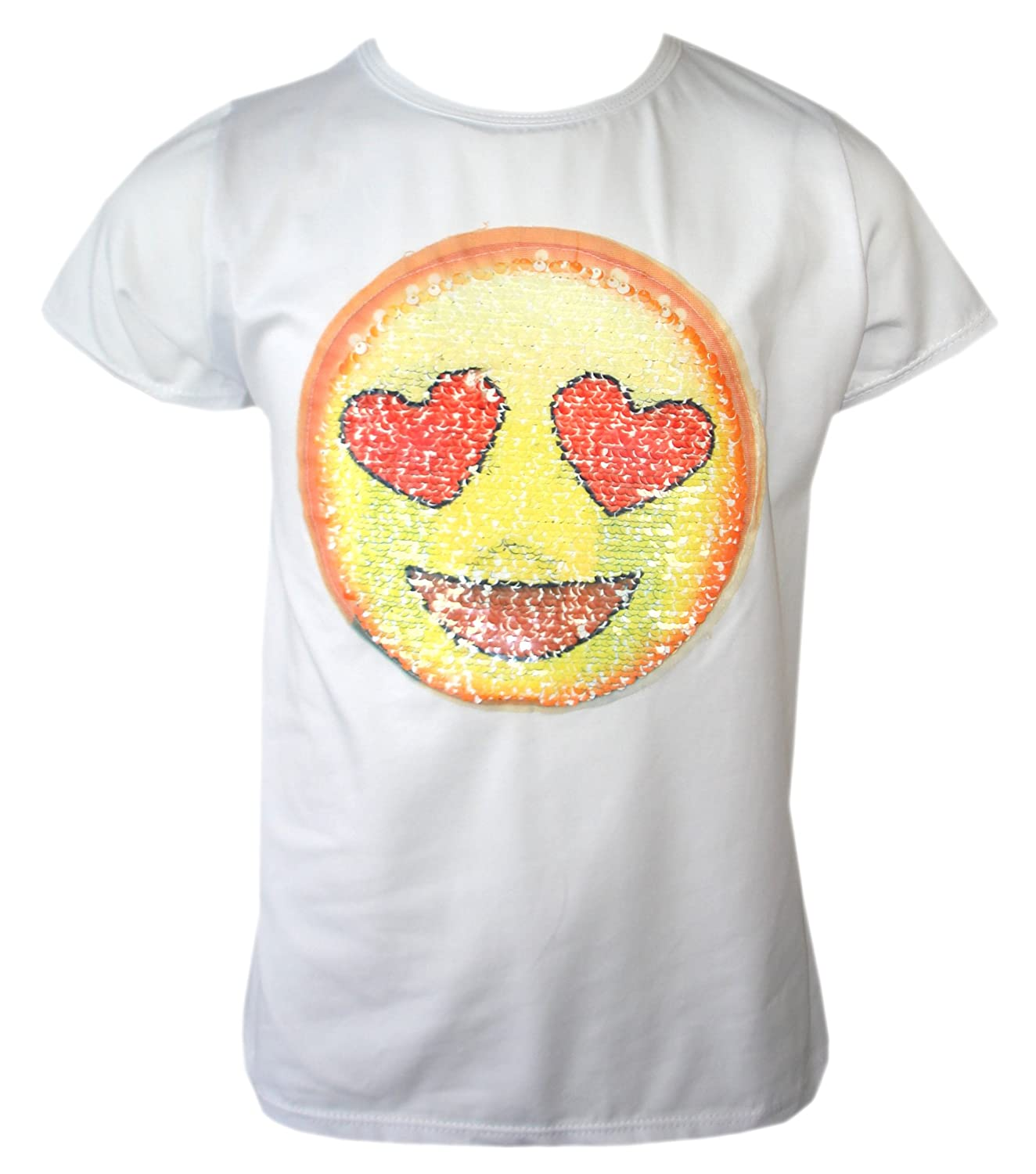 KIDS EMOJI EMOTICONS SMILEY FACE T SHIRT TEE TOP BRUSH CHANGING SEQUIN AGE 3-14 YEARS