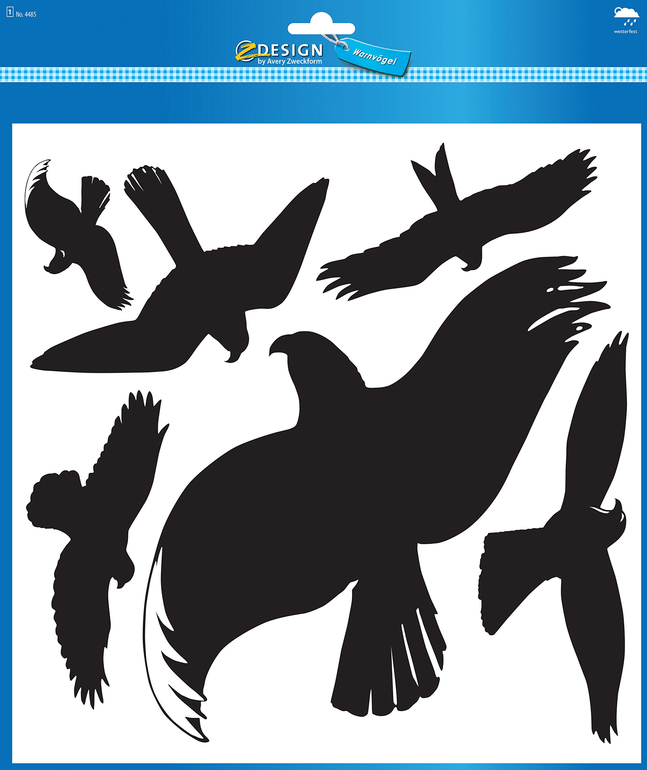 Avery Zweckform 4485 Warning Birds Black (Foil) 6 Stickers Black