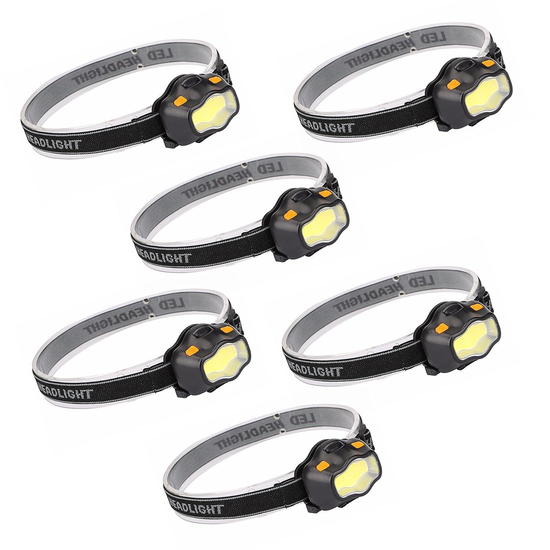 Kurtzy 6pcs 300 Lumens Lampade da Testa LED Torcia da Testa 3 Modalità Torcia Flashlight - Lampada Testa Running, Headlight con cinghia regolabile,LED Headlamp per Speleologia Ciclismo Sport Esterno MA-6032