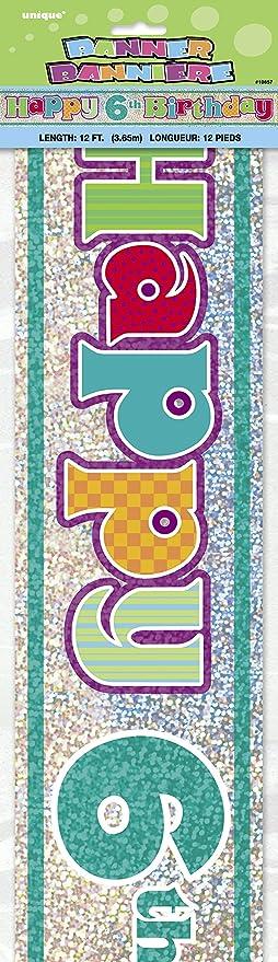 Unique Party-Cartel de cumpleaños Happy 6th Birthday, 360 cm ...