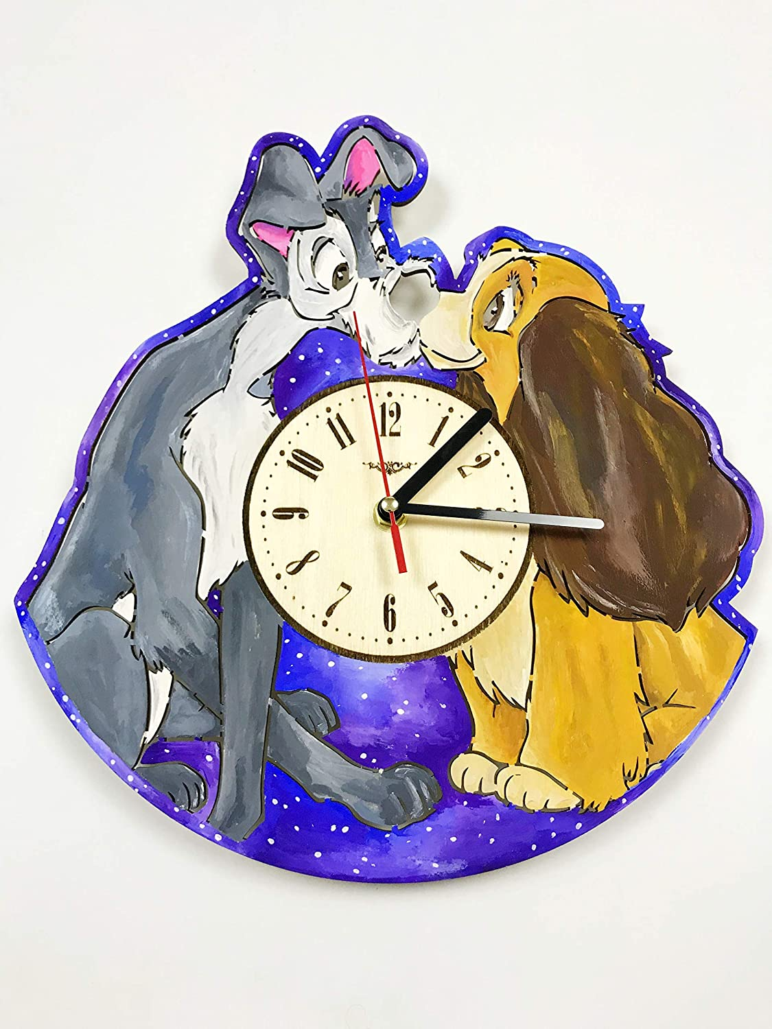 Painted Lady and The Tramp Wall Clock Wood Home Decor - Great Wall Art for Living Room Bedroom Kitchen for Men Women Kids Girlfriend Boyfriend - Silent Quarzt Mechanism