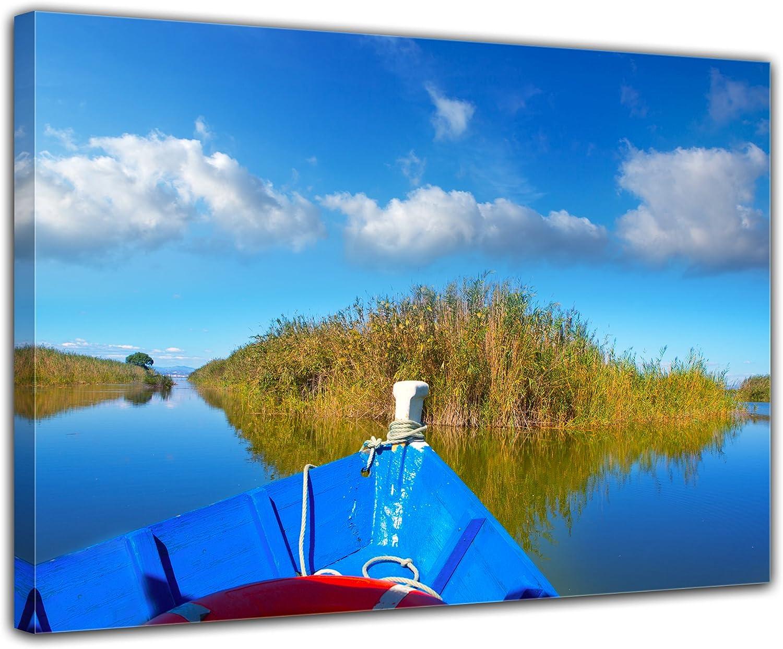 Bilderdepot24 Cuadros en Lienzo Barco Azul en la Albufera - Valencia España 120x90 cm - Enmarcado Listo Bastidor Imagen. Directamente Desde el Fabricante: Amazon.es: Hogar