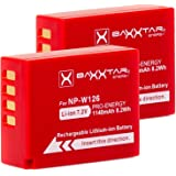 2x BAXXTAR Pro Battery for Fujifilm NP-W126 NP-W126s (Real 1140 mAh) compatible for FinePix HS30EXR HS33EX X100F X-A1 X-A2 X-A3 X-A5 X-A10 X-E1 X-E2 X-E3 X-ES2 X-H1 X-M1 X-Pro1 X-Pro2 X-T1 X-T2 X-T3 X-T10 X-T20