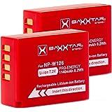 2x Baxxtar PRO batería para Fujifilm NP-W126 NP-W126s (de 1140mAh) compatible a FinePix HS30EXR HS33EX X100F X-A1 X-A2 X-A3 X-A5 X-A10 X-E1 X-E2 X-E3 X-ES2 X-H1 X-M1 X-Pro1 X-Pro2 X-T1 X-T2 X-T3 X-T10 X-T20 X-T100
