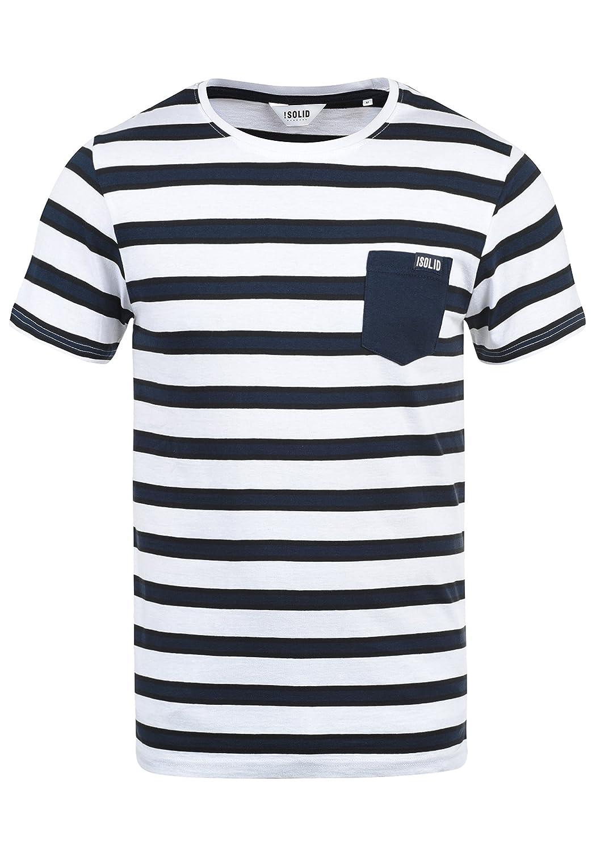 !Solid Salu Camiseta De Rayas B/ásica De Manga Corta para Hombre con Cuello Redondo De 100/% algod/ón