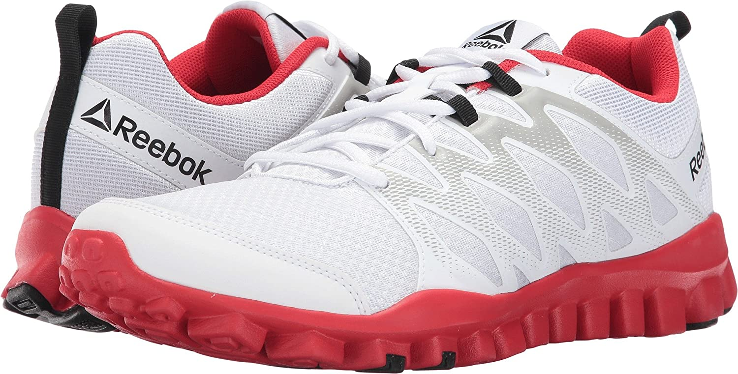 a8b84550aed0 Reebok Men s Realflex Train 4.0 White Skull Grey Primal Red Athletic Shoe   Amazon.co.uk  Shoes   Bags