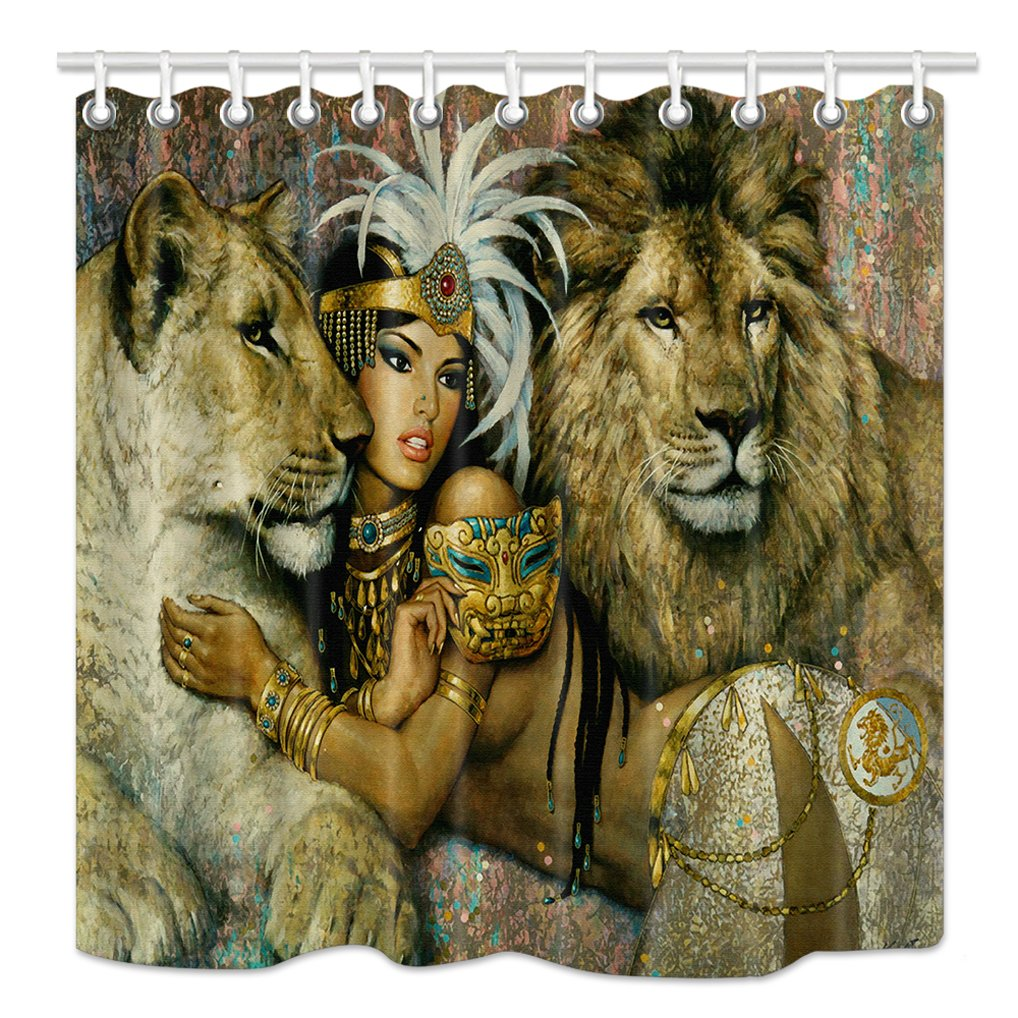 HNMQ Safari Décor Shower Curtain, Animals Lion and Girs, Mildew Resistant Waterproof Fabric Bathroom Decorations, Bath Curtains Hooks Included, 69X70 inches