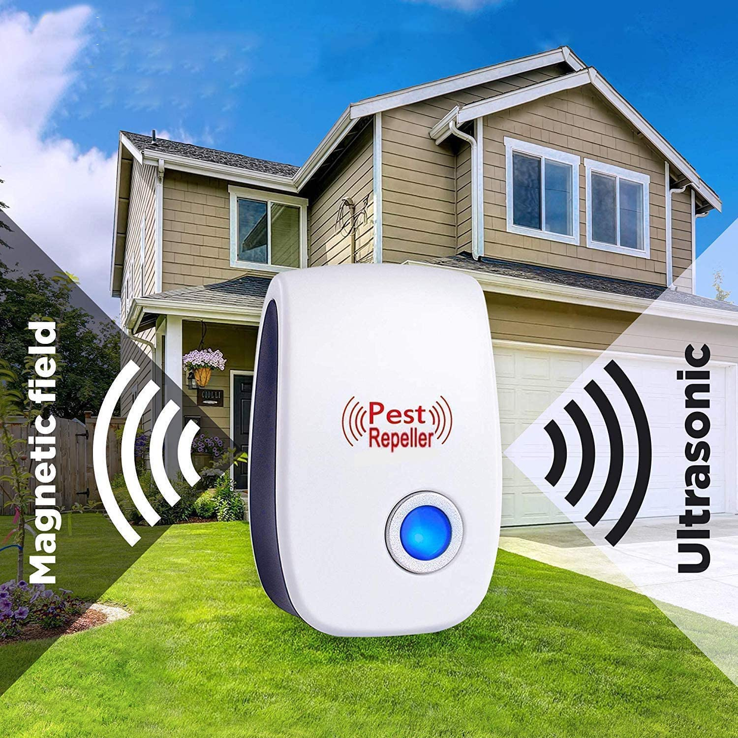 GoldTech Ultrasonic Pest Repeller 6 Pack 2020 Upgraded 100% Safe Electronic Pest Control Ultrasonic Repellent Indoor Plug-in Repellent for Bed Mosquitos, Mice, Cockroach, Spider, Ant, Bug and Insect: Health & Personal Care