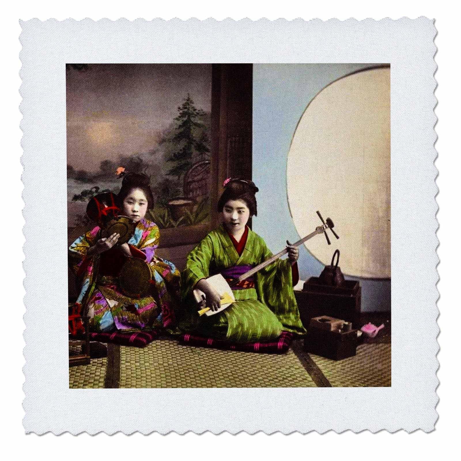 3dRose Japanese Tsuzumi and Samisen Geisha