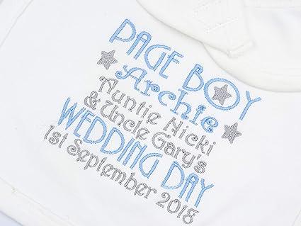 Babero de bebé bordado personalizado con cierre de velcro, para el día de la boda