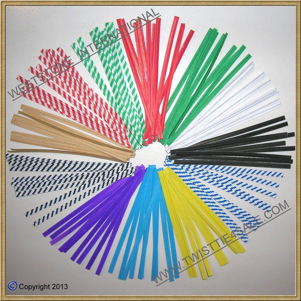 240 Pcs 4'' Paper Twist Ties (12 Colors)