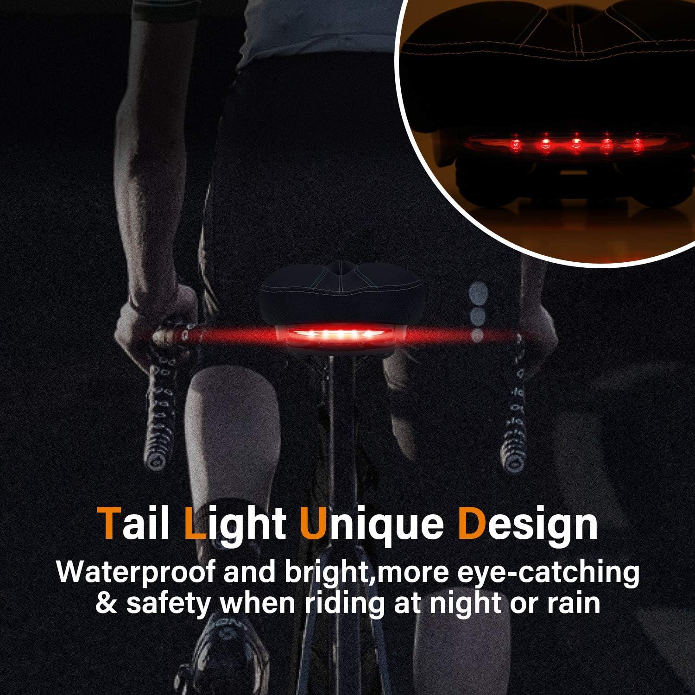 qerich Bike Seat Bicycle Saddle,Comfort Cycle Saddle Wide Cushion Pad with Reflective Strip,Universal Fit Bike Seat