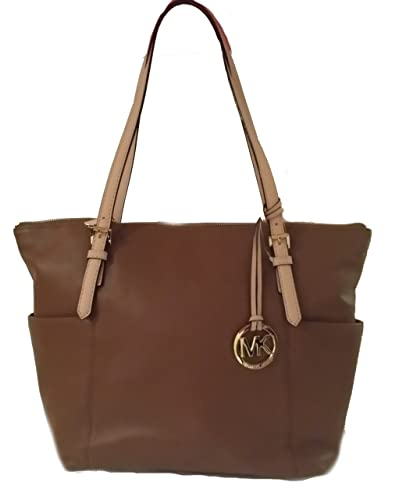 f2d37271400b Amazon.com: Michael Kors Jet Set East West Top Zip Brown Leather Tote: Shoes
