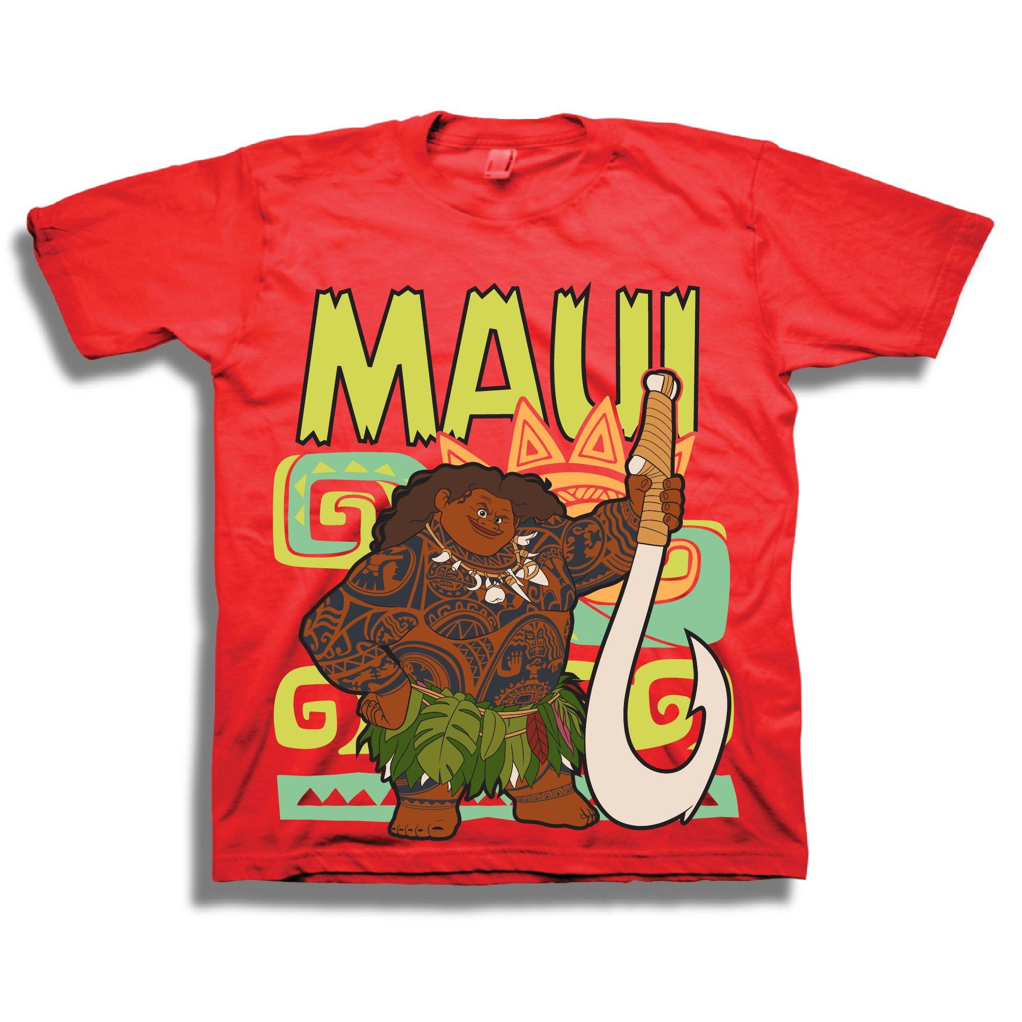 Disney's Pixar Moana Maui Shirt - 2 Pack of Moana Tees - Featuring Moana and Maui (Red/Light Blue, 4T) by Moana (Image #2)