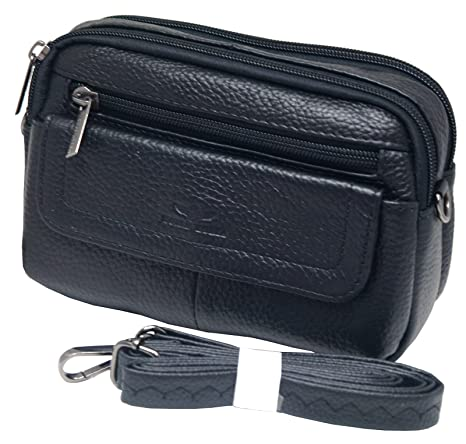 f8fb26eb1cc4 Amazon.com  Mens Waist Pack Small Messenger Bags Tactical Mobile Phone Pouch  Leather Travel Bags Cases Holsters (Black WK4EN)  Cell Phones   Accessories
