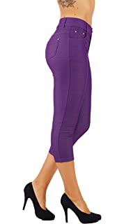225da2bf90d44 5StarsLine Women's Jean Look Jeggings Tights Slim Fit Pull Up Pants Solid  Colors Full Length and