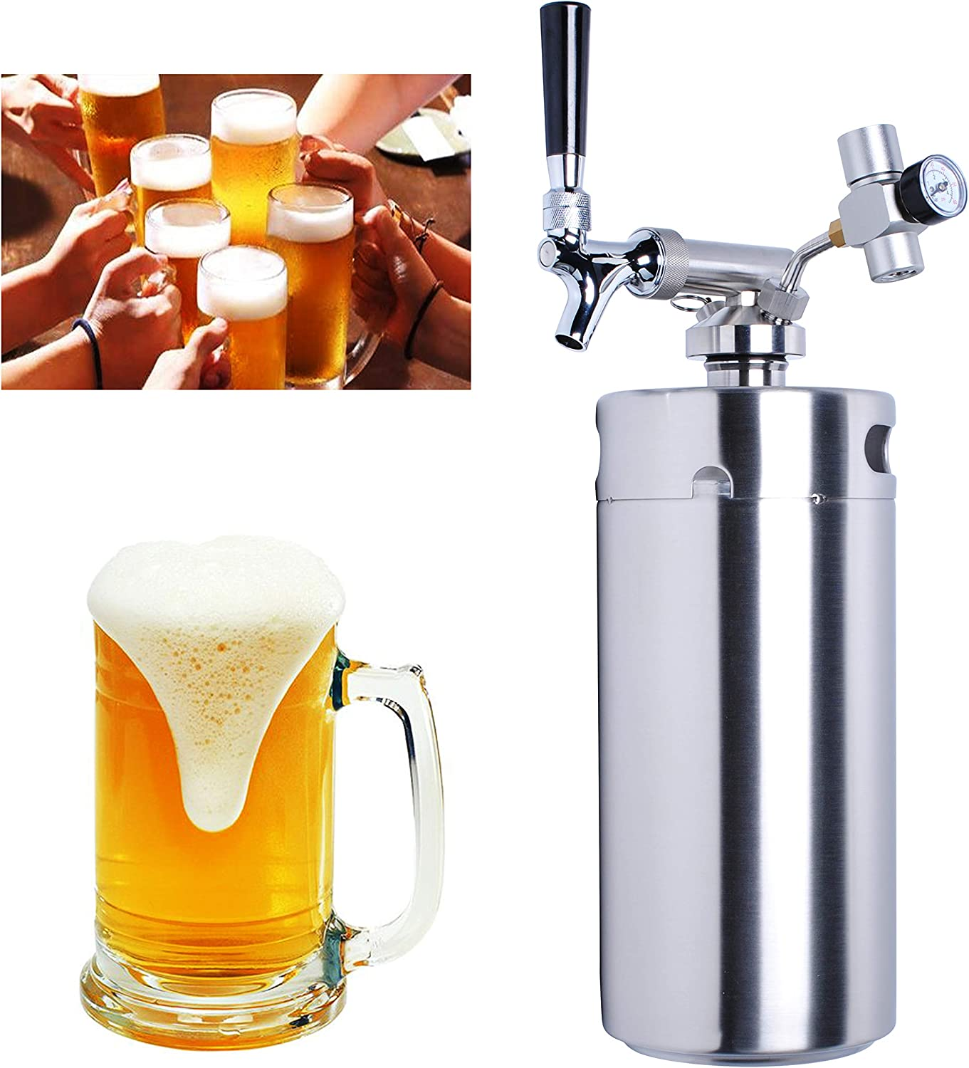 Pressurized Growler Tap System 128oz for Beer by Wadoy - Upgrade Stainless Steel Mini Keg Growler with Co2 Regulator Keeps Fresh and Carbonation for Homebrew, Craft Beer and Draft Beer