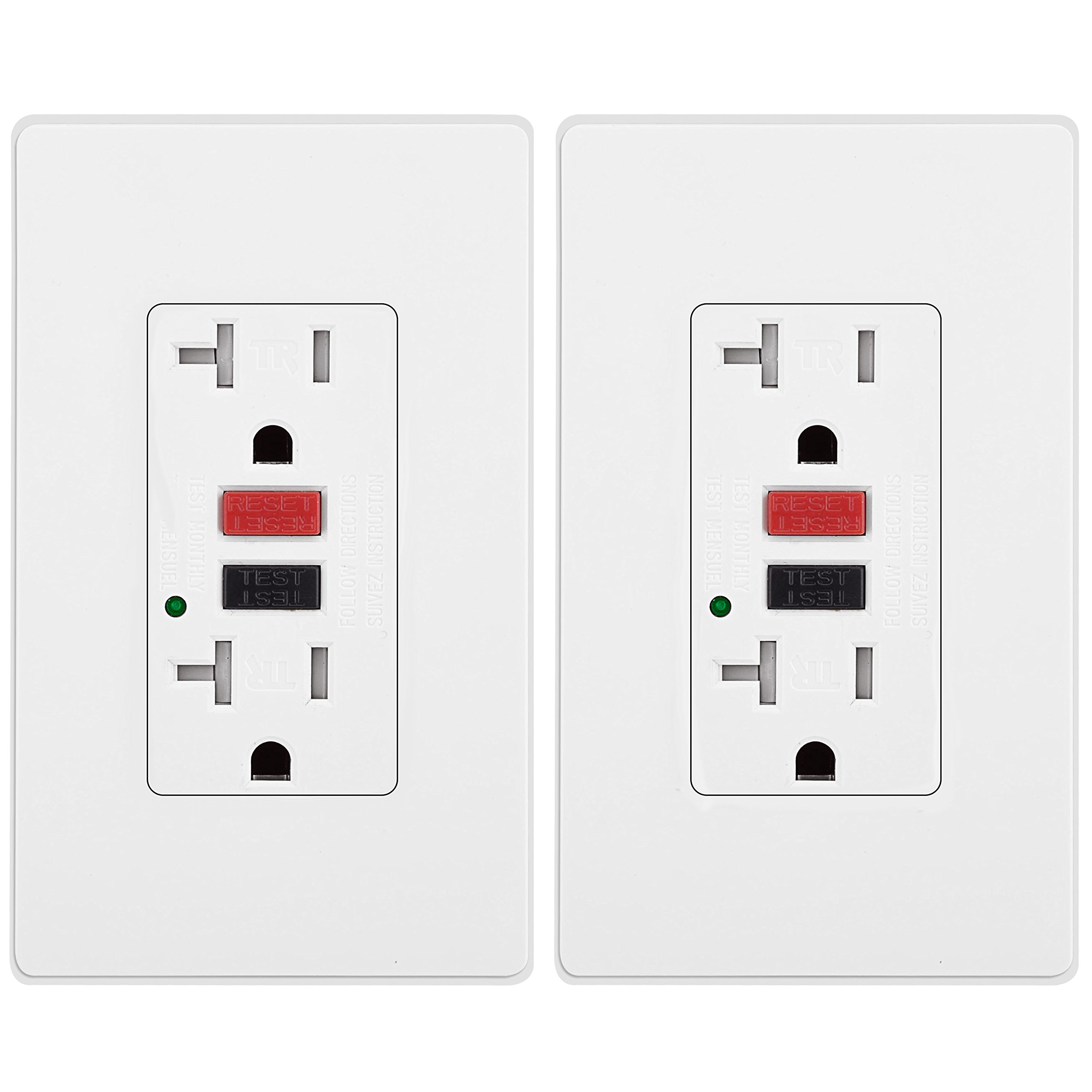 [2 Pack] BESTTEN Tamper-Resistant GFCI Receptacle Outlet (20A/125V/2500W), LED Indicator, 2 Types of Wall Plates and Screws Included, ETL Certified, White