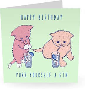 """Central 23 - Cute Animal Birthday Card - """"Purr Yourself A Drink"""" - Fun Pun Card - Boyfriend Girlfriend Wife Husband Fiance Relationship Love - Comes with Fun Stickers"""