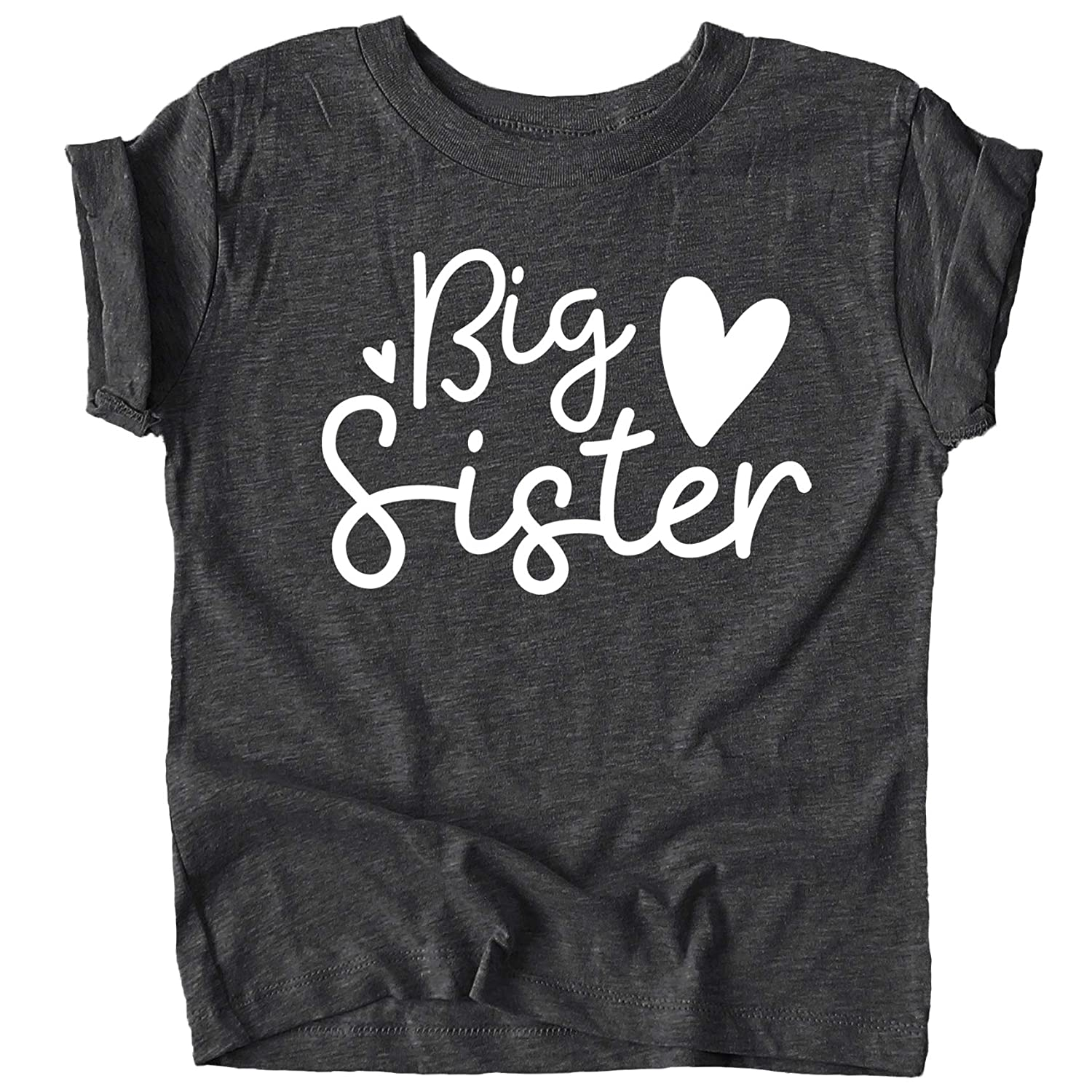 Olive Loves Apple Cursive Big Sister Hearts Sibling Reveal T-Shirt for Baby and Toddler Girls Sibling Outfits