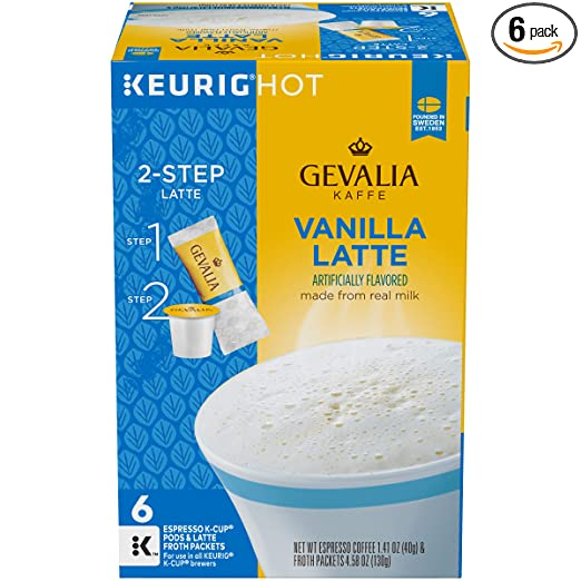 Gevalia Vanilla Latte K-Cup Packs and Froth Packets - 36 count (6 Packs of 6)