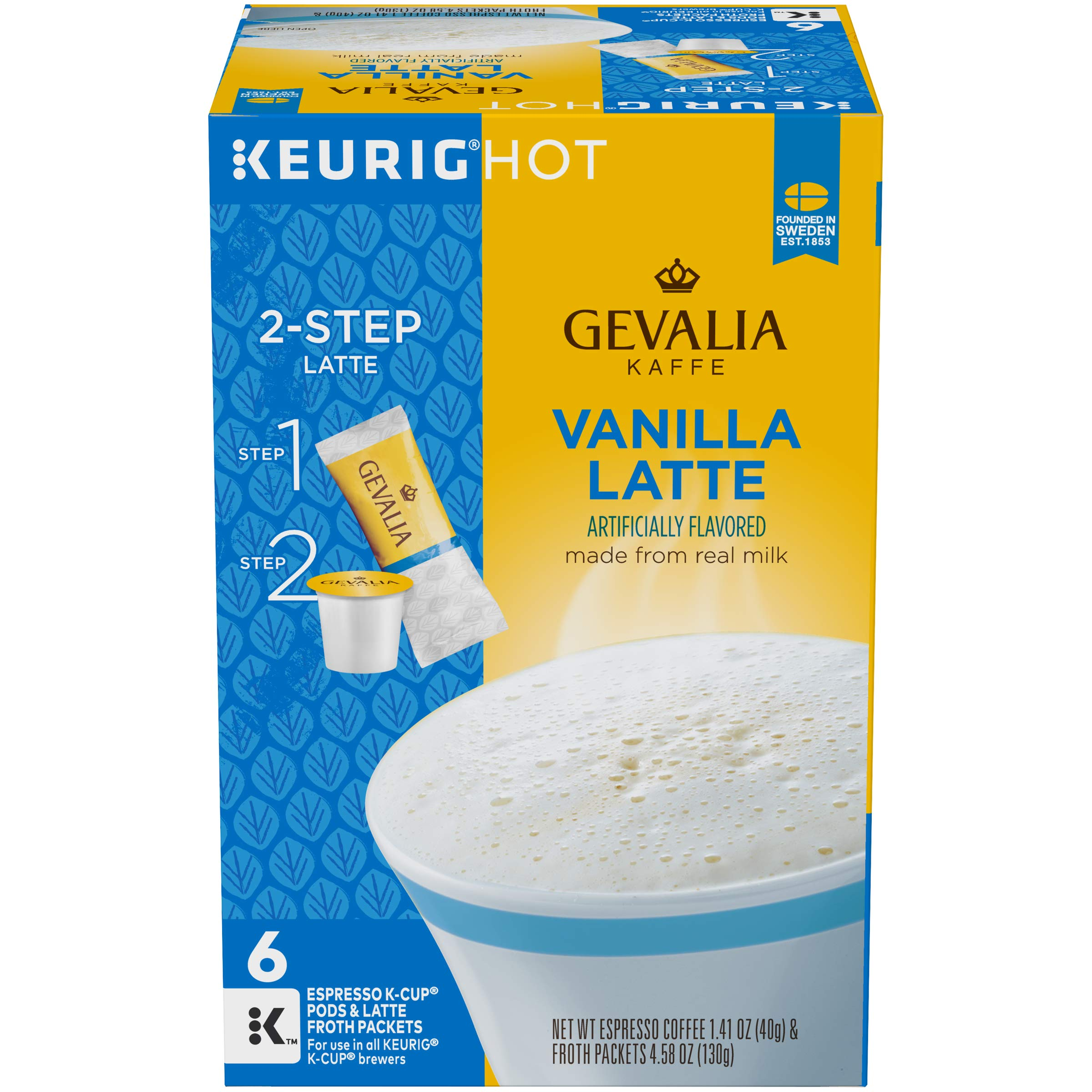 Gevalia Vanilla Latte K-Cup Packs and Froth Packets, 36 count (6 boxes of 6)