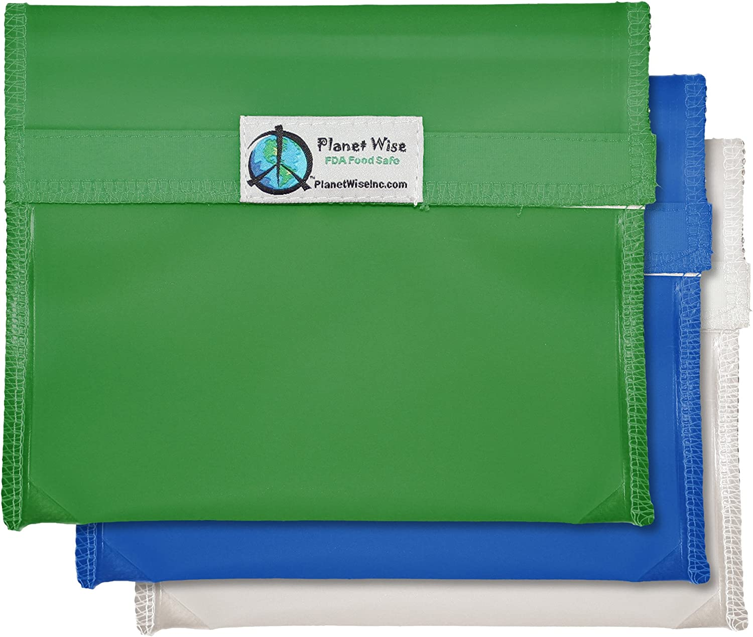 Planet Wise Reusable Tint Sandwich Bag - 3-Pack - Hook and Loop (Blue/Green)