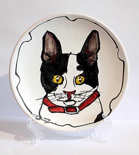 e22ce00c840e El gato-Plato de cerámica Mano decorado tamaño 16,2 cm de diámetro ...