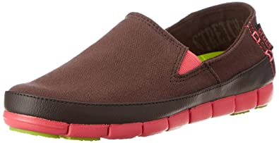 c1c568f987 crocs Women's Stretch Sole Espresso and Poppy Loafers and Mocassins - W5