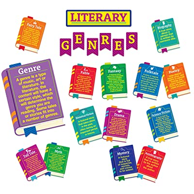 Eureka Literary Genres Educational Bulletin Board Set and Classroom Decorations for Teachers, 24pcs : Office Products