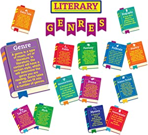 Eureka Literary Genres Educational Bulletin Board Set and Classroom Decorations for Teachers, 24pcs