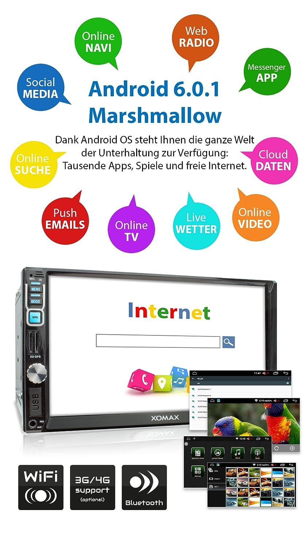 soporte WIFI//3G//4G//DAB+//OBD2 Bluetooth manos libres 2TB y SD 7//18 cm pantalla t/áctil XOMAX XM-2VDA715 Android 6.0.1 radio de coche//naviceiver con GPS USB 256 GB