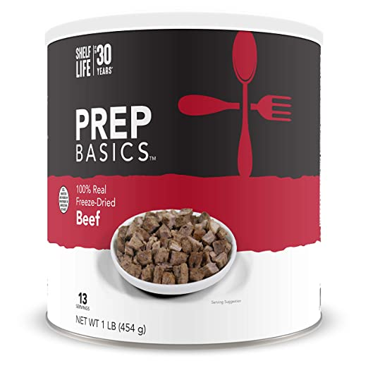 Prep Basics Freeze-Dried Beef | 100% Real | Emergency Food Supply | 1,950 Total Calories | 234 Total Grams Protein | Up to 30 Year Shelf Life | No. 10 Can