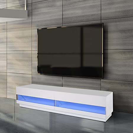 Homcom Meuble Tv Bas Banc Tv Design Contemporain Double