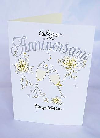 Tarjeta de felicitación de aniversario de boda pareja ...